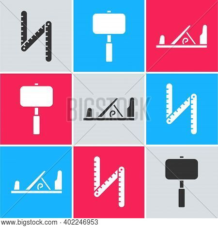 Set Folding Ruler, Sledgehammer And Wood Plane Tool Icon. Vector