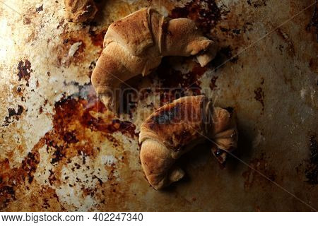 Sweet Chocolate Croissants, Selective Focus On Old Vintage Background. Fresh Homemade Croissants Wit