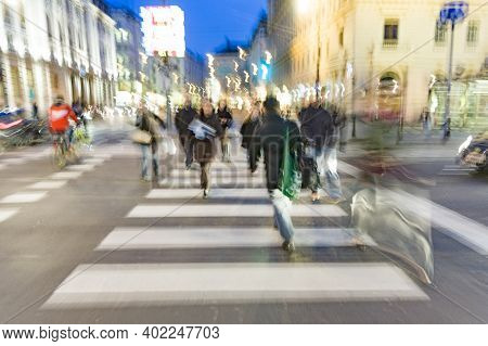 Vienna, Austria - April 23, 2009: People In Blurred Motion Crossing A Pedestrian Crossing Downtown V
