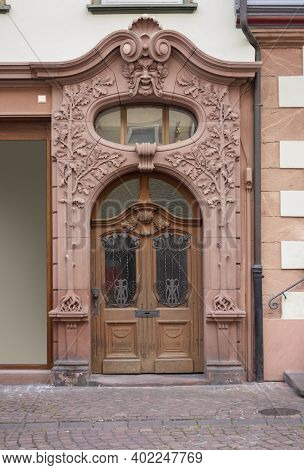 Historic Ornamented Door Seen In Miltenberg, A Town In Lower Franconia, Bavaria, Germany