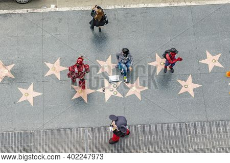 Los Angeles, Usa - Mar 5, 2019: Aerial Of Walk Of Fame With Tourists Looking For Stars And Actors Ea