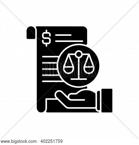 Balance Sheet Black Glyph Icon. Financial Statement That Reports About Company Money Assets And Busi