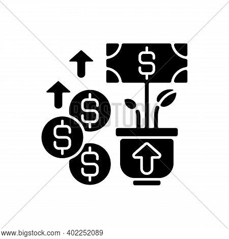 Revenue Black Glyph Icon. Income And Increase In Net Assets That Entity Has From Its Normal Activiti