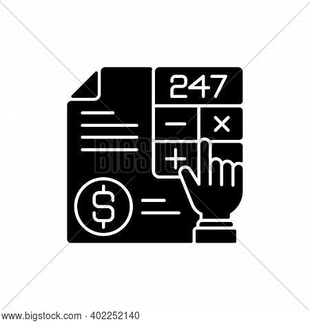Accounting Black Glyph Icon. Measurement And Processing Of Financial Information About Economic Enti