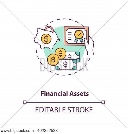 Financial Assets Concept Icon. Intangible Assets Type Idea Thin Line Illustration. Cash, Stocks, Bon