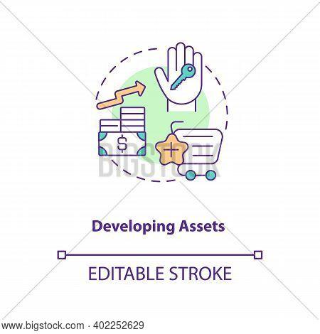 Developing Assets Concept Icon. Asset Management Component Idea Thin Line Illustration. Improving Ec