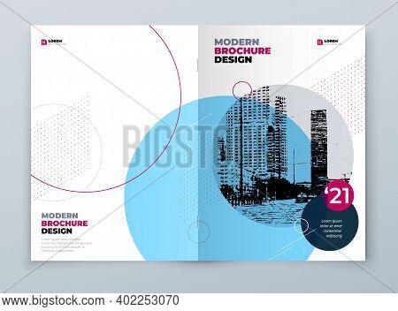 Brochure Design. Blue Corporate Business Rectangle Template Brochure, Report, Catalog, Magazine. Bro