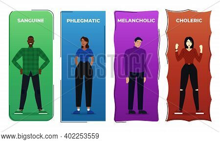 Vector Illustration The Four Human Temperaments, And Phlegmatic