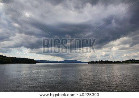 View of Lipno lake in overcast weather, Czech Republic.