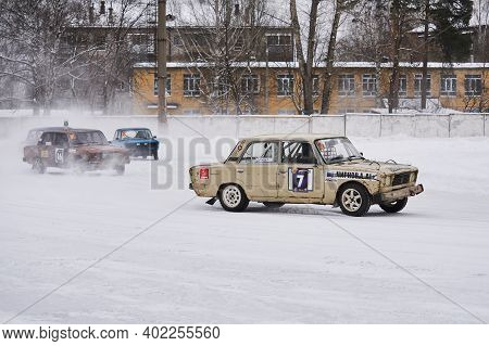 Perm, Russia - January 26, 2020: Cars Tuned For Hard Racing During Amateur Ice Drifting Competition