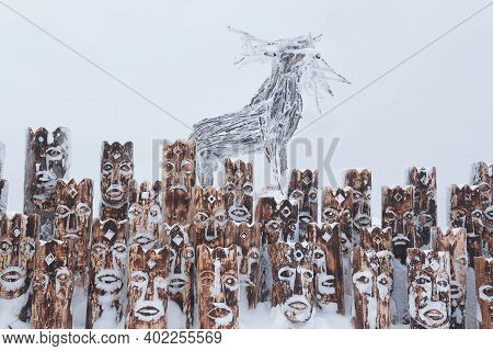 Perm Krai, Russia - January 02, 2021: Fragment Of A Snow-covered Art Object In The Form Of A Group O