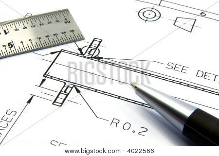 Technical Drawing With Pen And Ruler