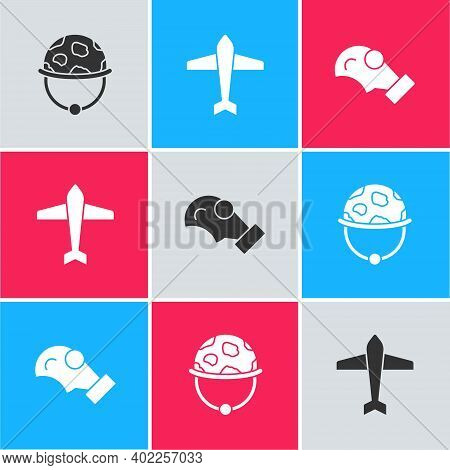 Set Military Helmet, Jet Fighter And Gas Mask Icon. Vector