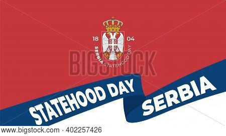 Red Background Design With Serbia Symbol For Serbia Statehood Day Design.