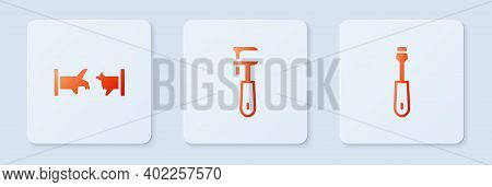 Set Pipe Adjustable Wrench, Broken Pipe And Screwdriver. White Square Button. Vector