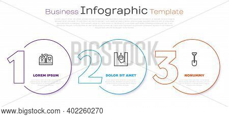 Set Line Grave With Tombstone, Coffin In Grave And Shovel. Business Infographic Template. Vector