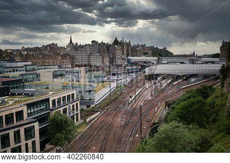 Edinburgh, United Kingdom - August 23 2020: Old Town and Waverly train station in Edinburgh, Scotland UK