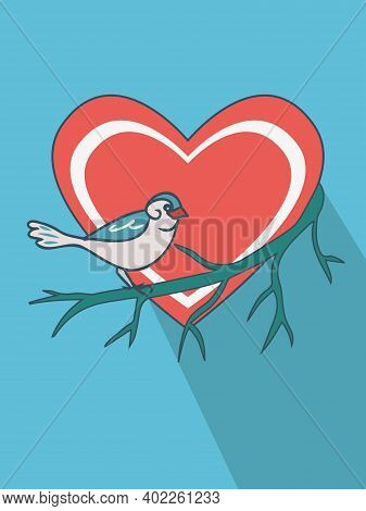 Bird (sparrow) Sitting On A Leafless Bald Branch In Front Of A Red Heart Symbol On A Blue Background