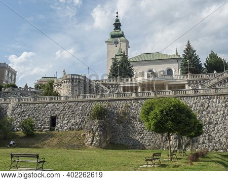 Ruzomberok, Slovakia, August 30, 2020: View Of Park In Ruzomberok Old Town City Center With Baroque