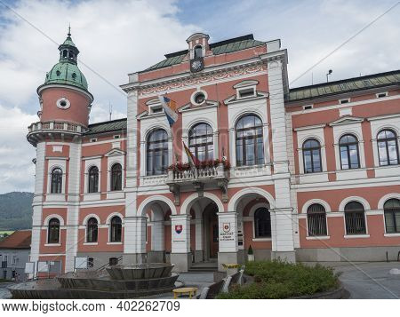 Ruzomberok, Slovakia, August 30, 2020: View Of Town Hall Of The City Of Ruzomberok In Main Square. R