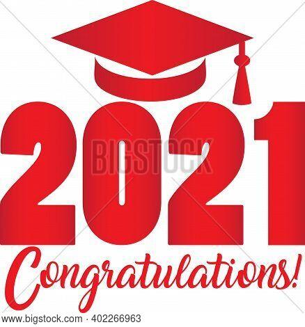 Congratulations 2021 Graduate Red Graduation Cap Banner Graphic