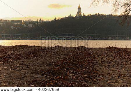 Kyiv, Ukraine-november 22,2020: Scenic Landscape View Of Famous Kyiv's Hills During Sunset. Scenic L