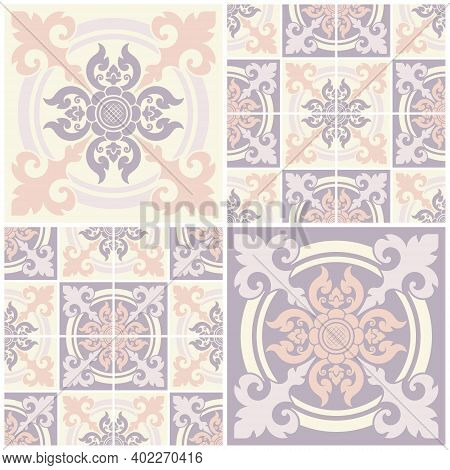Set Seamless Decorative Pattern, Applied Thai Art Style. Abstract Background For Cards, Banner, Broc