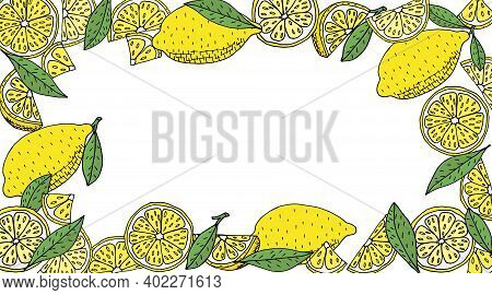 Lemon Frame Hand Drawn. Yellow Whole Lemons And Slices And Quarter And Green Leaves Of Lemon Tree. V