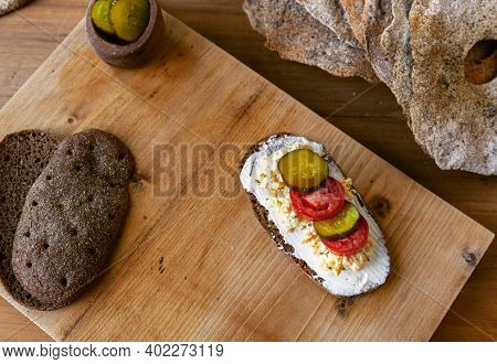 Open Sandwich With Creame Cheese. Top View, Flat Lay. Copy Space. Traditional Scandinavian Breakfast
