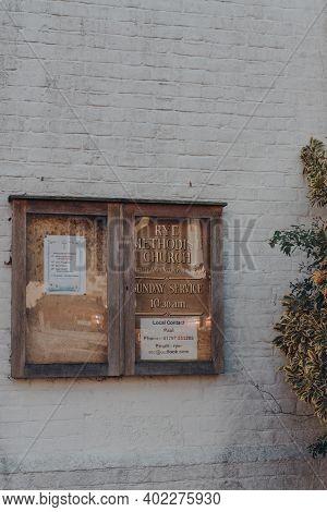 Rye, Uk - October 10, 2020: Information Board Outside Rye Methodist Church In Rye, One Of The Best-p