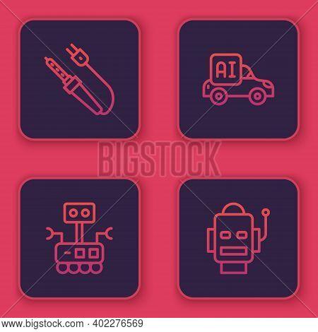 Set Line Soldering Iron, Robot, Autonomous Smart Car And . Blue Square Button. Vector