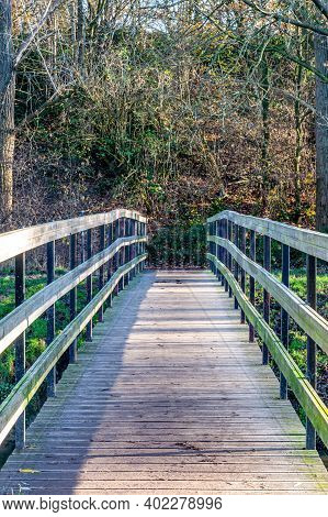 Wooden Footbridge In A Nature Reserve With Wild Plants And Bare Trees In The Background, Sunny Winte