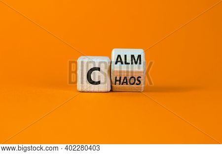 Stop Chaos, Time To Calm. Turned A Wooden Cube And Changed The Word 'chaos' To 'calm'. Beautiful Ora