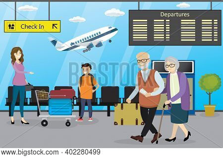 Different Cartoon People In Airport, Airport Interior, Airplane On