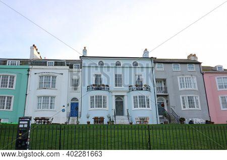 16 December 2020 - Herne Bay, Kent, Uk: Various Coloured Georgian Townhouses