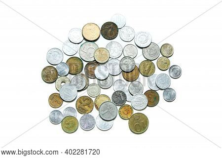 Old, Invalid Coins From Different European Countries Isolated On A White Background.