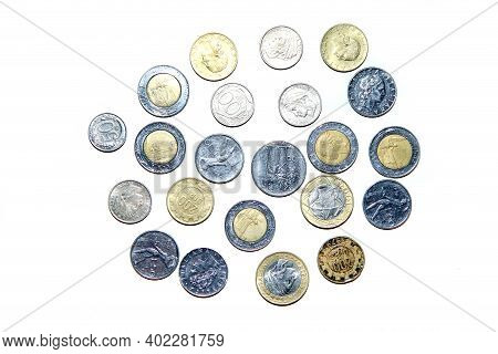 Old, Invalid Coins From Italy Isolated On A White Background.