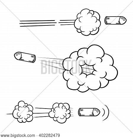 Shot From Gun. Flying Bullet. Line And Trace. Black And White Hand Drawn Shot. Cartoon Illustration.
