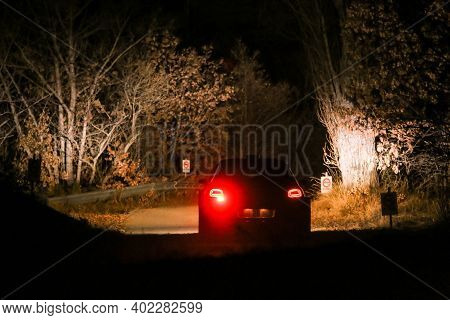 The Rallye Car Is Driving In The Dark Fast On The Tarmac Roads During The Rallye Event (rallye Monte
