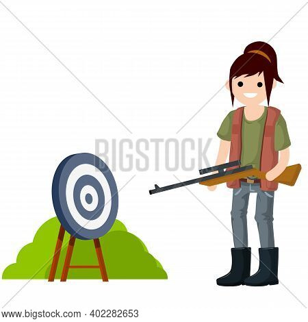 Woman Hunter With Gun. Equipment For Hunting Animals. Girl With Rifle. Shooter And Weapon. Target Fo