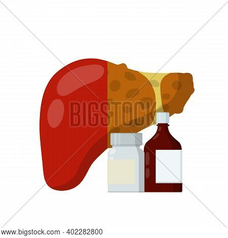 Liver And Packaging Of Medications. Treatment Of Internal Organ Of Person. Bottle With Pills And Dru