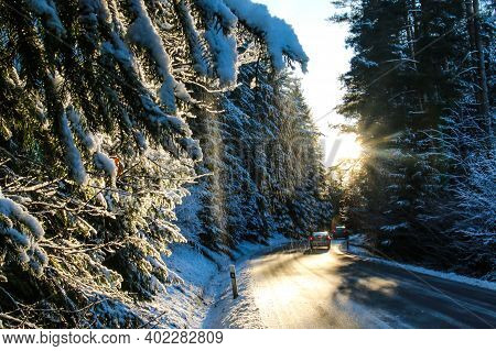A Picture Of The Road In The Forest During The Warm Winter Evening. The Sun Is Going Down.