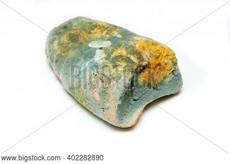 The Picture Of A Fully Mouldy Bread Because Of The Wrong Storage In Hdpe Sack. Rotten And Uneatable.