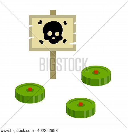 Minefield. Green Mines. Danger Warning Sign With Skull. Hostility. Concept Of Threat And Risk. Carto