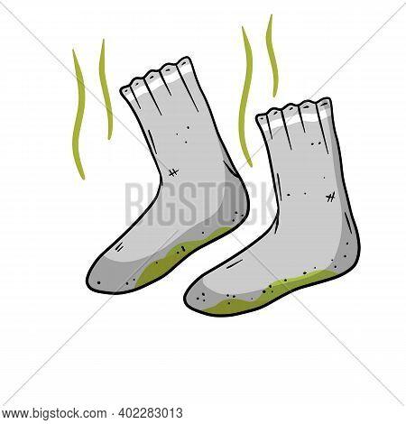 Dirty Sock. Smelly Feet. Sloppy Clothes. Stinky Toe. Grey Object For Washing. Cartoon Flat Illustrat