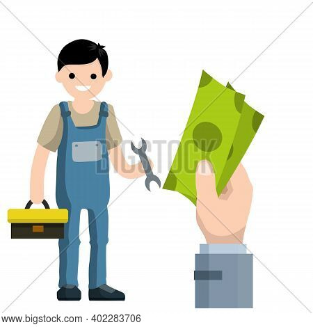 Cartoon Illustration - Technician Man In Uniform. Young Boy Worker. Male Mechanic With Wrench And To