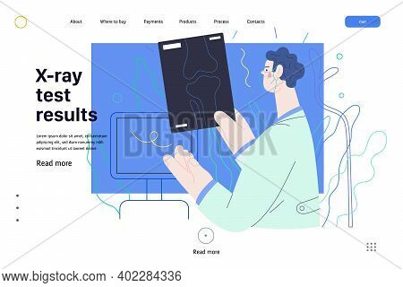 Medical Tests Web Page Template - X-ray Test - Modern Flat Vector Concept Digital Illustration Of X-