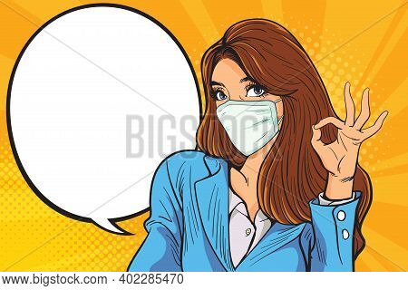 Business Woman Okay Gesture Action With Covid-19, 2019-ncov, Woman With A Blue Medical Mask. The Con