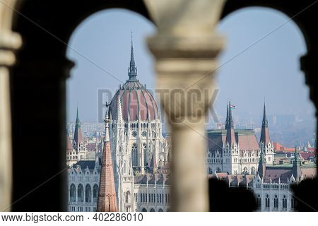 A Hungarian Parliament In Budapest Pictured From The Outlook On The Hill On The Opposite Side Of The