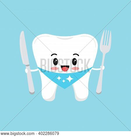 Cute Tooth Molar With Fork And Knife. Flat Design Cartoon Style Strong Dental Character Vector Illus